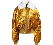 Faux fur-trimmed velvet bomber jacket