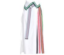 Grosgrain-trimmed linen-blend wrap midi skirt