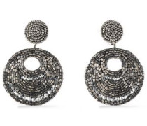 Gunmetal-tone bead and crystal earrings