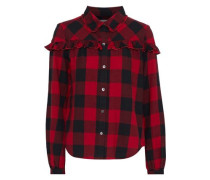 Ruffle-trimmed Gingham Cotton-flannel Shirt Claret
