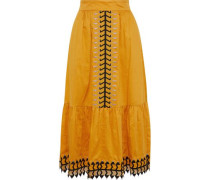 Agnes Embroidered Tulle-trimmed Cotton Midi Skirt Mustard