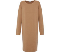 Mélange ribbed-knit wool-blend dress