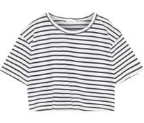 Teagan Cropped Cotton-jersey Top White