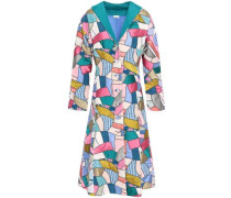 Patchwork Printed Silk Coat Multicolor