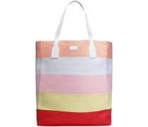 Leather-trimmed Striped Woven Tote Pastel Orange Size --
