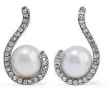 Silver-tone, crystal and faux pearl earrings