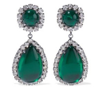 Gunmetal-tone, Stone And Crystal Clip Earrings Emerald Size --