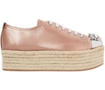 Embellished Metal-trimmed Satin Espadrille Platform Sneakers Blush