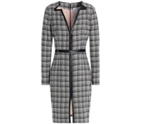 Woman Faux Leather-trimmed Wool-blend Jacquard Dress Gray