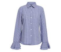 Ruffle-trimmed Gingham Cotton-jacquard Shirt Blue
