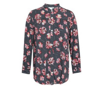 Floral-print Stretch-modal Jersey Pajama Top Anthracite