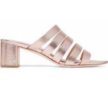 Finley metallic textured-leather mules