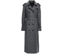 Double-breasted Check Wool-blend Trench Coat Dark Gray
