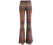 Woman Checked Knitted Flared Pants Multicolor