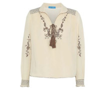 Hiller Embroidered Cotton-gauze Top Beige
