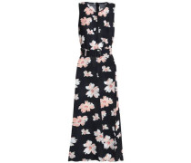 Belted floral-print canvas midi dress
