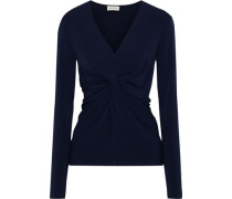 Sulana Knotted Stretch-crepe Top Navy