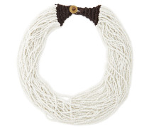 Woman Knit-trimmed Beaded Necklace White