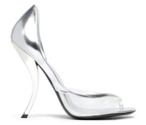 Pvc-trimmed Metallic Leather Pumps Silver