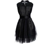 Tulle-paneled Silk-blend Twill Mini Dress Black