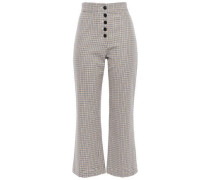 Houndstooth Cotton Kick-flare Pants Blue
