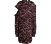 Cutout printed silk-crepe mini dress
