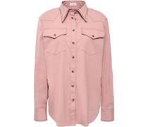 Bead-embellished Stretch-cotton Poplin Shirt Antique Rose