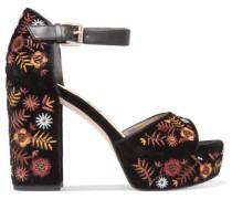Embroidered velvet platform sandals