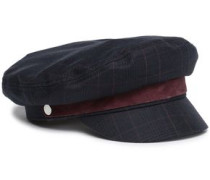 Suede-trimmed Checked Wool-blend Cap Navy  /L
