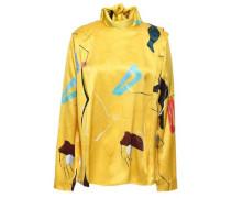 Printed Silk-satin Blouse Yellow
