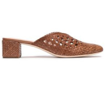 Woven Leather Mules Tan