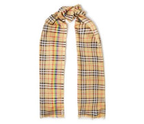 Woman Frayed Checked Wool And Silk-blend Scarf Beige