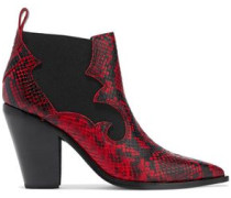 Woman Snake-effect Leather Ankle Boots Claret