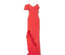 Asymmetric ruffled silk crepe de chine gown