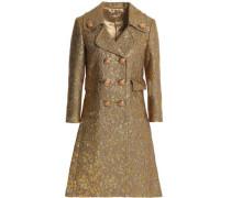 Wool-blend brocade coat
