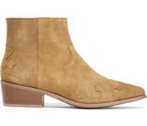 Saffy Appliquéd Suede Ankle Boots Camel