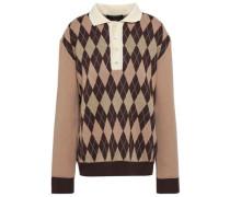 Metallic Argyle Wool Sweater Brown