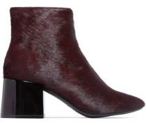 Calf Hair Ankle Boots Burgundy