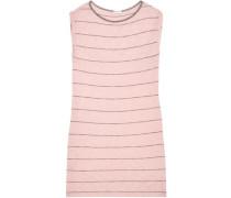 Striped Slub Cotton And Modal-blend Jersey Mini Dress Blush