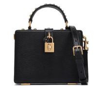 Dolce Box Studded Lizard-effect Leather Shoulder Bag Black Size --