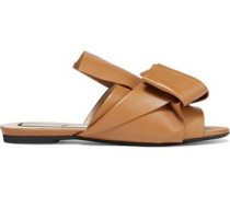 Woman Knotted Leather Slides Sand