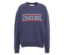 Woman Embroidered French Cotton-terry Sweatshirt Navy