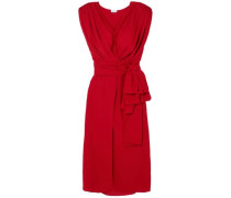 Silk-crepe Midi Wrap Dress Red
