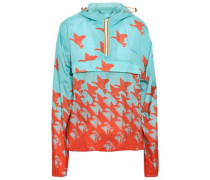 Printed Shell Hooded Jacket Turquoise
