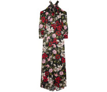 Anora Cold-shoulder Floral-print Silk-satin Gown Black