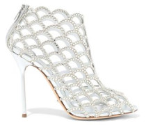 Crystal-embellished Metallic Leather-paneled Laser-cut Suede Ankle Boots Silver