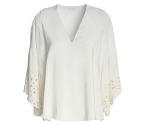 Woman Broderie Anglaise-trimmed Silk Crepe De Chine Blouse Ivory