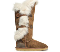 Burnished Shearling Boots Camel