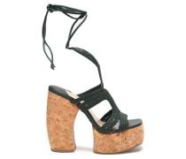 Lace-up woven leather platform sandals