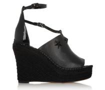 Embellished espadrille wedge sandals in black leather